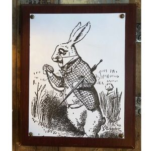 Other - White Rabbit Vintage Wall Art